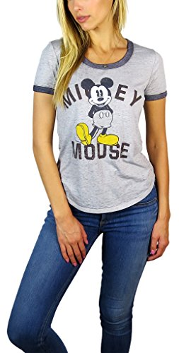 Disney Womens Mickey Mouse Burnout Ringer Tee Heather Grey (Heather Grey Mickey, Small)