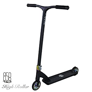High Roller Scooter With Forged Neck Tube To Avoid Breaks + Light Strong Deck With Patent Reinforced Aluminium Bar For The Ultimate Performance By Ride 858 (MATTE BLACK/OIL SLICK)