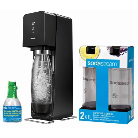 Sodastream Source Sparking Water Maker, Black with 3 Carb Bottles