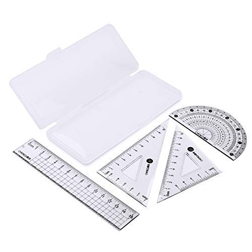 Shuxy Math Geometry Kit – Shatterproof Box, Straight Ruler, Protractor, Triangle Rulers - Math Scribing and Marking Tool Set for Students