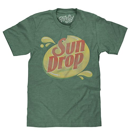 Tee Luv Sun Drop T-Shirt - Distressed Sundrop Citrus Soda Shirt (Medium) Forest Green Heather ()