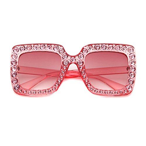 Frame Adewu protecci de Large Oversized Square Lente Diamond Sunglasses Sparkling Uv400 Women T0TfHw