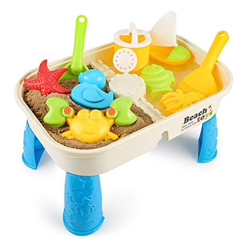 Lovelion Beach Toy Set with Activity Table with Storage Room and Cover Suitable for Toddler Over Fun Sand Toys Set for Girls and Boys Kids Outdoor Toys]()