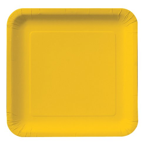 Creative Converting Touch of Color 18 Count Square Paper Dinner Plates, School Bus Yellow ()