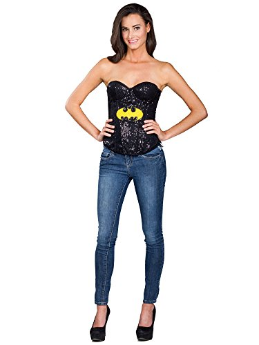Batgirl Corset Costumes (Secret Wishes DC Comics Justice League Superhero Style Adult Corset Top with Logo Sequined Batgirl, Black, Large)