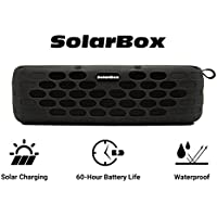 Solar Powered Bluetooth Speaker, Solarbox IPX5 Waterproof Outdoor Portable Wireless Speaker with 60-Hour Playtime, HD Audio, Built-in Mic, 10W Enhanced Bass Sound. Perfect for iPhone, Samsung and more