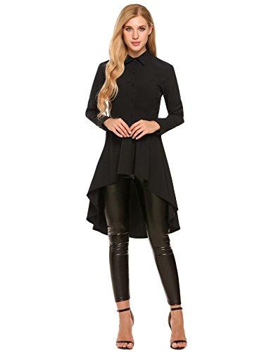 Zeagoo Womens Long Sleeve Asymmetrical Hem Collared Shirt Top