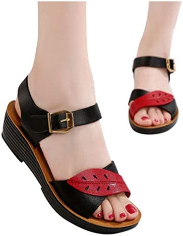 Women Sandal, Nevera Fashion Summer Peep Toe Casual Wedge Platform Shoes Ladies Ankle Strap Buckle Walking Sandals Black