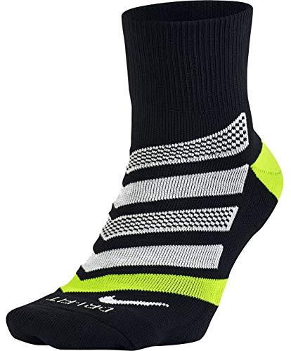 Nike Dri-Fit Cushion Dynamic Arch Quarter Running Socks, Black/Volt/White, MD (Men's Shoe 6-8, Women's Shoe 6-10) -