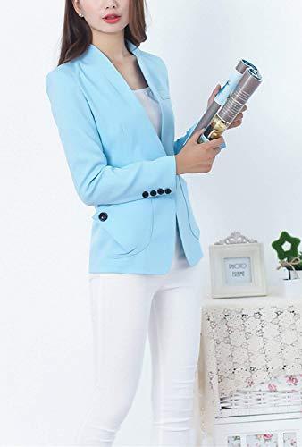 Anteriori Autunno Bavero Donna Solidi Button Cappotto Blau Tasche Offlce Giacca Moda Manica Ovest Colori Giovane Da Tailleur Lunga Softshell 0Eznz6x