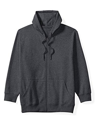 Amazon Essentials Men's Big and Tall Full-Zip Hooded Fleece Sweatshirt fit by DXL, Charcoal Heather, - Fashion Full Zip Hooded Sweatshirt