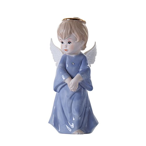 (Panda Space Little Cute White Ceramic Angel Statue Cherub Statue with Halos and Wings (Blue) )