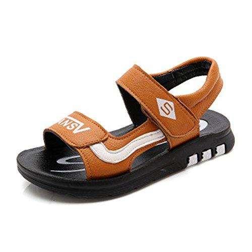 IINFINE Comfort Adjustable Slip-on Outdoor Water Snap Lock Sandals for Kids-(Orange 31/13 M US Little Kid) (Trekker Sneaker)