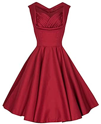 Syuer Womens 1950s Style Vintage Retro Floral Spring Garden Party Picnic Dress Cocktail Dress (XX-Large, Wine Red)