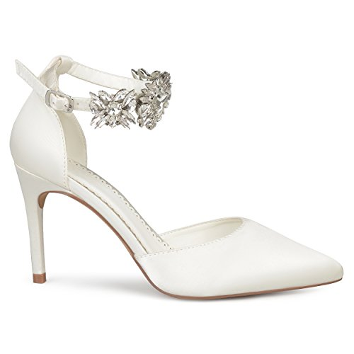 Rhinestone Toe D'Orsay Co Heels Satin Womens Pointed Stiletto Brinley Ankle Lizzie White Strap AnYTXWagq