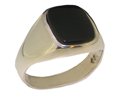 Solid 925 Sterling Silver Natural Onyx Mens Gents Signet Ring - Size 6.5 - Sizes 6 to 13 Available -