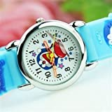 Cartoon Doraemon Pattern Clear Numeral Round Dial Children Wrist Watch