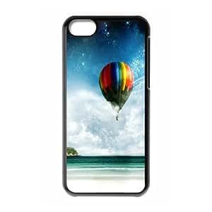 Dustin Balloon IPhone 5C Case Cute Girly & Cheap Colorful Hot Air Balloon Ride, Apple Iphone 5c Case [Black]