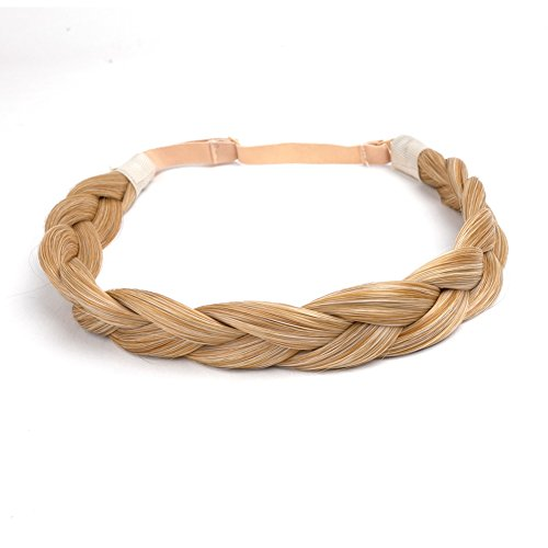 - Ty.Hermenlisa Chunky Synthetic Hair Braided Headband Classic Wide Braids Elastic Stretch Hairpiece Women Beauty accessory, 55g, Vanilla Blonde