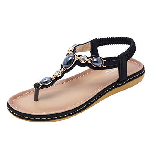 Hurrybuy Women's Summer Bohemia Retro Comfort Slides Roma Flat Crystal Flips Flop Beach Party Shoes Walking Sandals Black ()