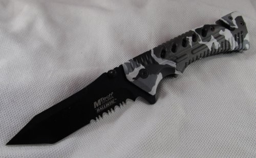 M-Tech Snow Camo Rescue Spring Assisted Folder Pocket Knife, Outdoor Stuffs