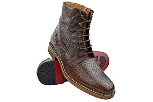 Zerimar Schuhe Für Männer Erhöhen auf Unsichtbare Weise Ihre Körpergrösse Höhe Steigerung Versteckter anhebender Ferse Erhöht Ihre Höhe bis Zu + 7 cm 100% Leder Braun