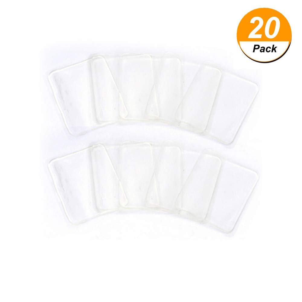 Genenic 20Pieces Sticky Gel Pads,Non-slip Pads Anti-slip Cell Phone Mats Cart Boating Kitchen Cabinets Glass Tile Other Surface(Rectangle Clear)