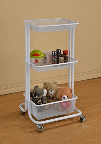 White Metal Mesh 3-tier Home Kitchen Bedroom Laundry Stor...