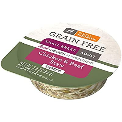 SIMPLY NOURISH 6-Grain Free Small Breed Adult Dog Chicken & Beef Stew (Shreds) 6-Individual 3 oz Cups