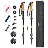 Cascade Mountain Tech Carbon Fiber Adjustable Trekking Poles - Lightweight Quick Lock Walking or Hiking Stick - 1 Set ( 2 Poles)
