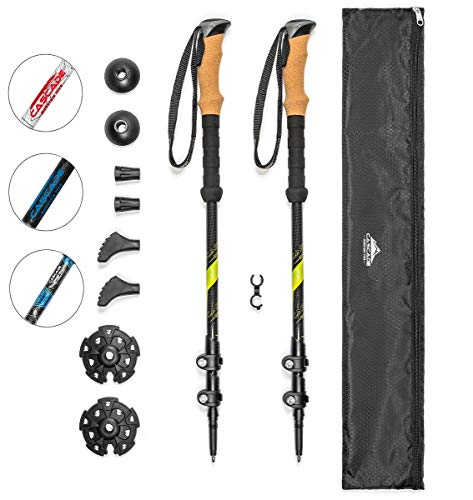 Cascade Mountain Tech Carbon Fiber Adjustable Trekking Poles 2 Pack - Lightweight Quick Lock Walking or Hiking Stick - 1 Pair (Palos De Trekking)