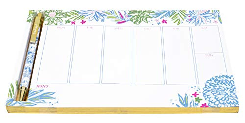 Lilly Pulitzer Undated Weekly Planner Desk Pad and Black Ink Pen | Notepad Includes 52 Sheets for 1 Year of Planning | Cheek to Cheek