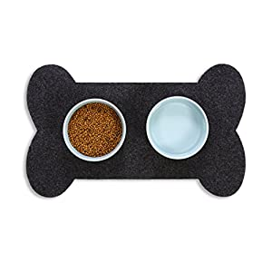 Resilia Feeding Mat for Dog Bowls – Protects Floors from Pet Food and Water, Bone Shape, Gray, 29.5 Inches X 18 Inches Click on image for further info.