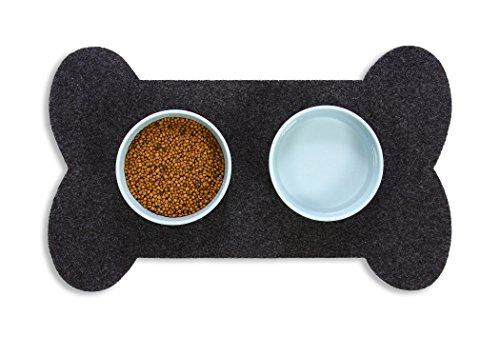 Resilia Feeding Mat for Dog Bowls - Protects Floors from Pet Food and Water, Bone Shape, Gray, 29.5 Inches X 18 Inches