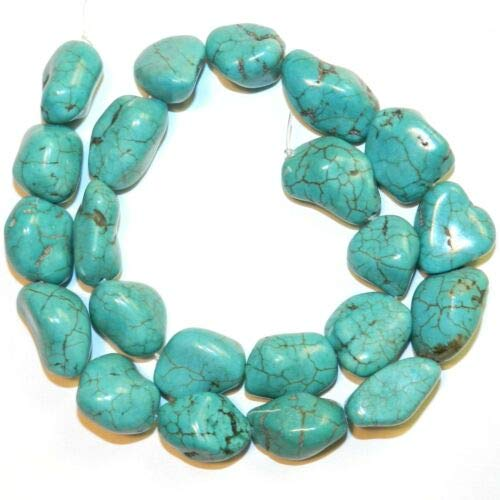 (NG2526 Blue-Green Turquoise Medium 18mm Magnesite Gemstone Nugget Bead 15'' Crafting Key Chain Bracelet Necklace Jewelry Accessories Pendants)
