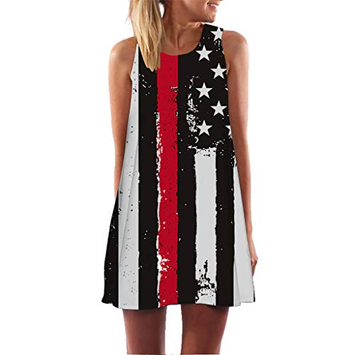 Vintage Patriotic Dress for Women 4th of July Celebration Sleeveless Printed Stripes Star American Flag Chemise (L, Black)