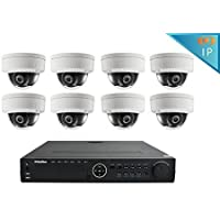 LaView 1080P HD IP 8 Dome Camera Security System 16 Channel PoE 1080P NVR with a 3TB HDD Indoor/Outdoor Cameras Day/Night Surveillance System with Remote Viewing, LV-KND996P168D08-T3