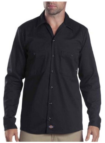 - Dickies Occupational Workwear LL307BK L Cotton Men's Long Sleeve Industrial Work Shirt, Large, Black