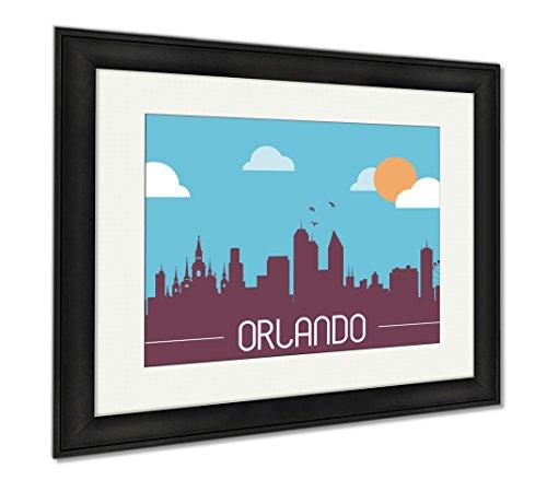 Ashley Framed Prints Orlando USA Skyline Silhouette, Office/Home/Kitchen Decor, Color, 30x35 (frame size), Black Frame, - Shops Orlando Disney Downtown