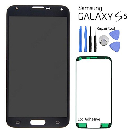 Samsung Galaxy S5 LCD Screen Replacement + Touch Digitizer Assembly, for G900 G900A G900P G900T G900V G900R4 G900F, Repair Tools + with Samsung Logo (Black) by Mr Repair Parts
