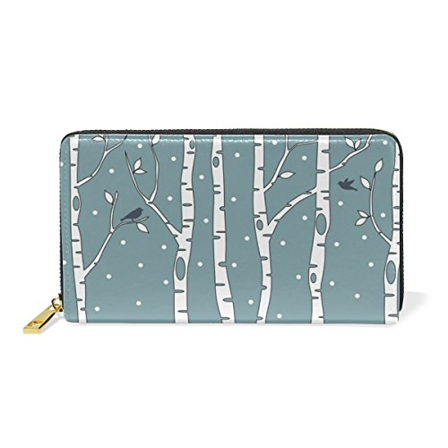 Deer Womens Zip Birch With Clutch TIZORAX Organizer Purses Trees And Wallet Around Handbags waq6Zg