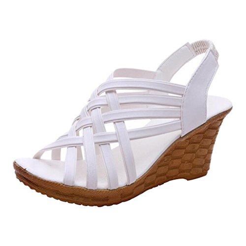 Binying Sandales Femme Creux Tisser Bout-Ouvert a enfiler Compensé Blanc RnKrnG4