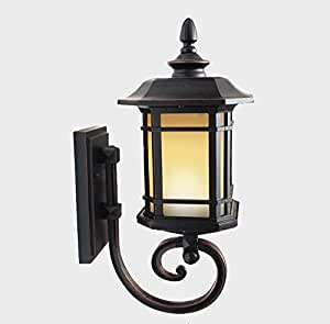 LIGHT- European style outdoor waterproof courtyard villa wall lamp Aluminum Light body glass lampshade wall lamp ( Size : L )