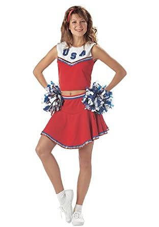 Fancy Dress Costume - Patriotic Cheerleader - Red - XL Amazon.co.uk Clothing