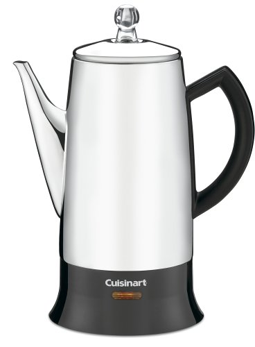 Electric Percolator Coffee Pot - Cuisinart PRC-12 Classic 12-Cup Stainless-Steel Percolator, Black/Stainless