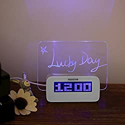 LED Message Board , Flashing Illuminated Erasable Digital Fluorescent Message Board USB Hub Clock Alarm Temperature Calendar Timer for Restaurant Bar Promotions Blue by UHBGT
