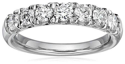 14k White Gold Diamond 7-Stone Shared Prong Anniversary Ring (1cttw, H-I Color, I1-I2 Clarity), Size 6