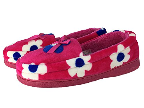 Damas Brillante VELOUR Mocasín Pantuflas Estampado Floral Toalla revestimiento talla 3A 8 Fucsia