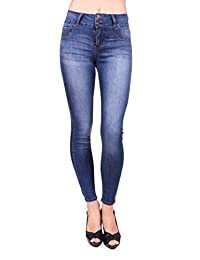 Cello Jeans Women Ankle Skinny Jeans with 3 Front Button and Fake Front Pockets