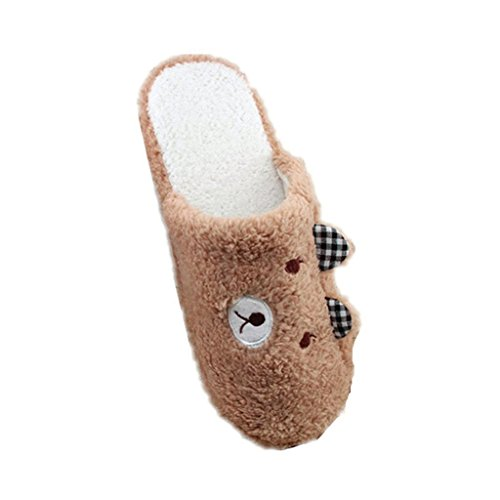 bismarckbeer Women Bear Pattern Soft Sole Cotton-padded Slippers Winter Warm Indoor Shoes Coffee euutdyrO0